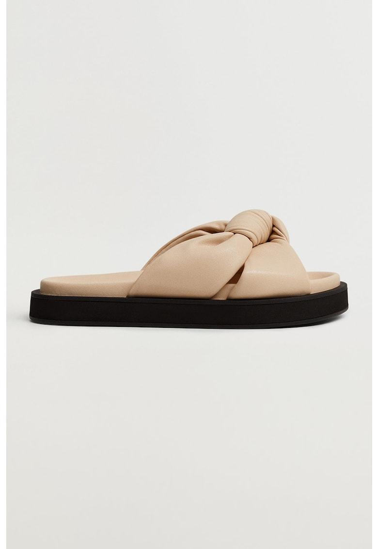 Papuci de piele ecologica cu nod decorativ Ponta de la Mango