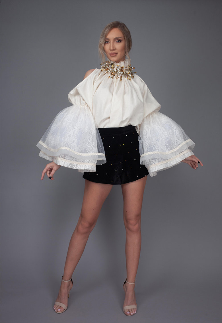 Bluza din amestec de in cu maneci bufante Cala imagine fashiondays.ro IE clothing