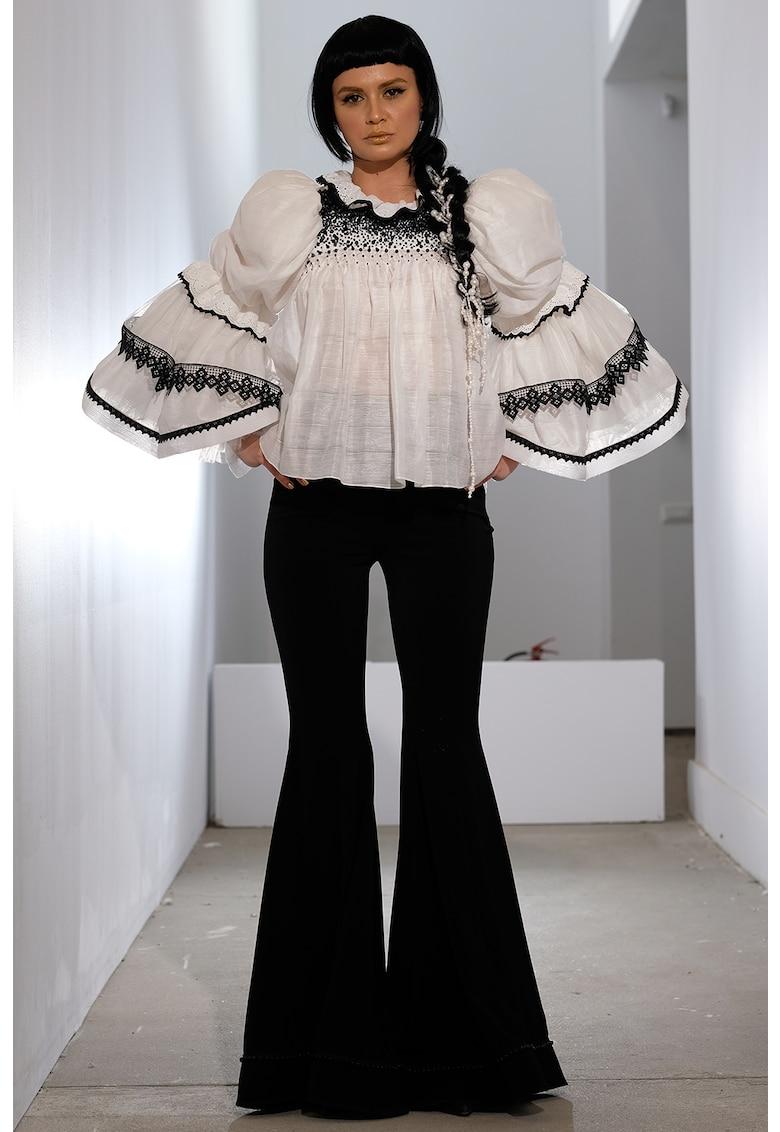 Bluza din amestec de bumbac cu maneci bufante Osana imagine fashiondays.ro IE clothing