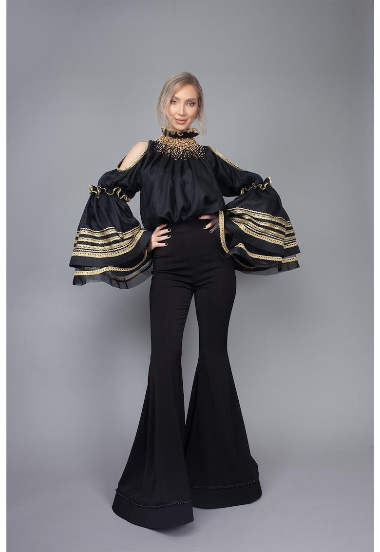 Pantaloni evazati cu talie inalta Nina imagine fashiondays.ro IE clothing