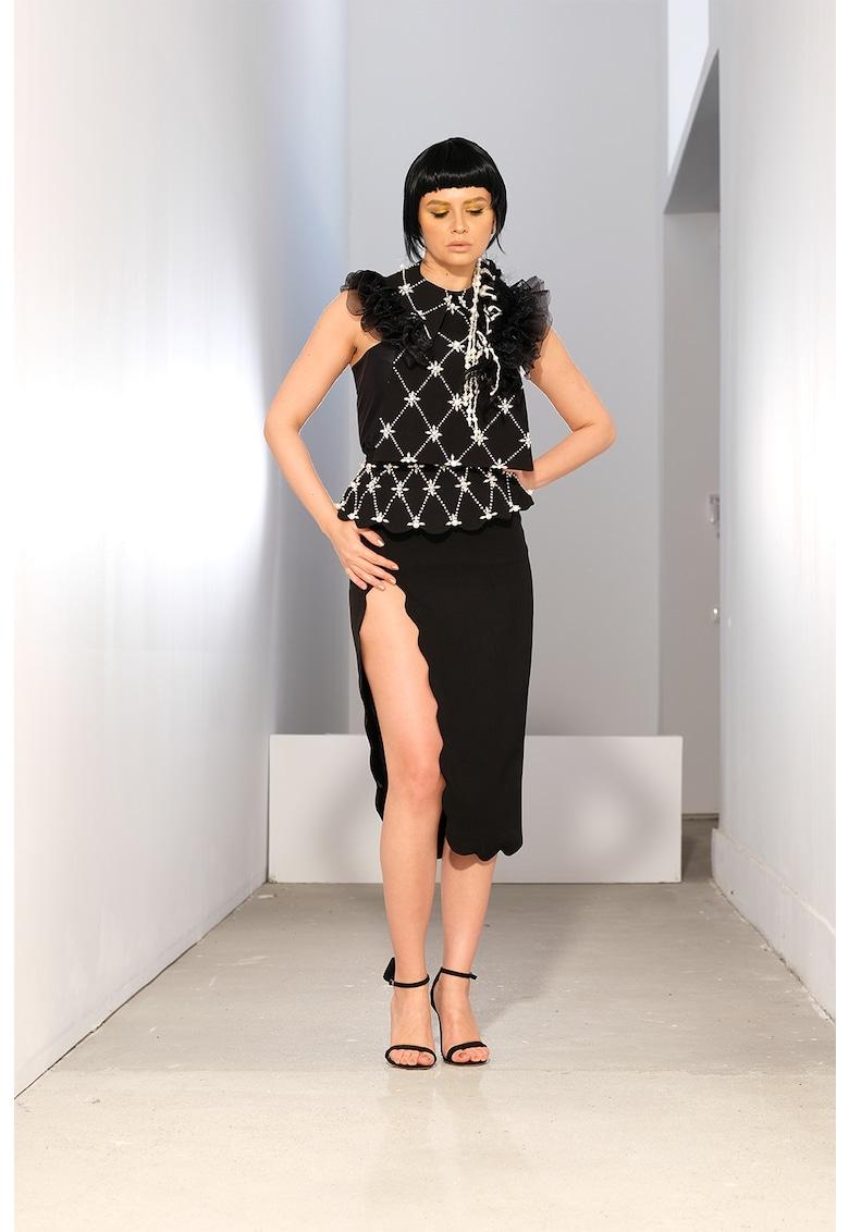 Guler cu volane si margele perlate Dalia imagine fashiondays.ro IE clothing