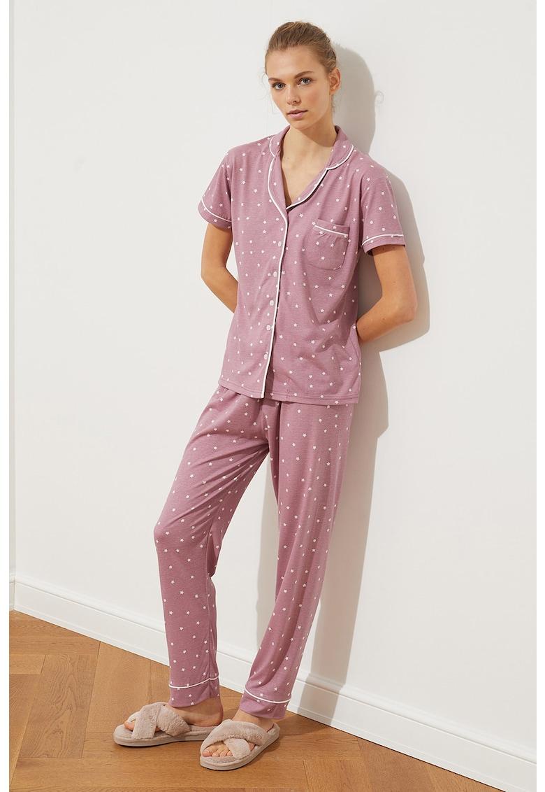 Pijama din amestec de bumbac cu model cu stele imagine fashiondays.ro 2021