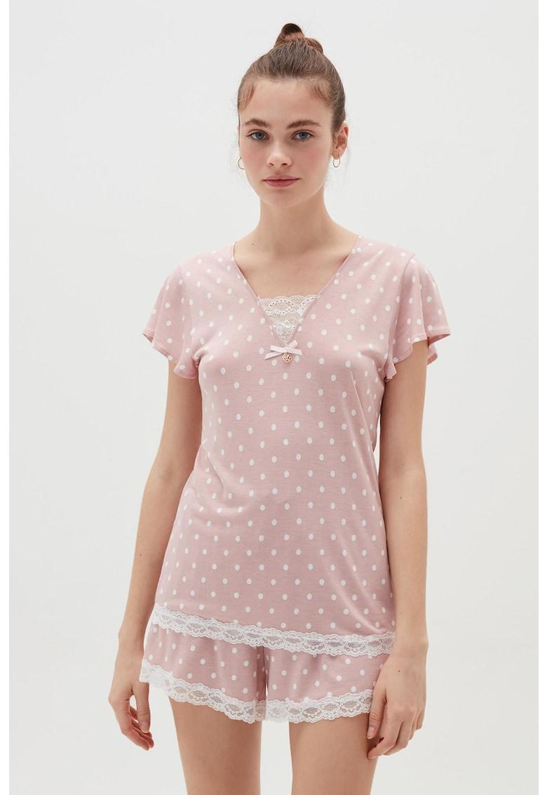 Tricou de pijama cu imprimeu cu buline