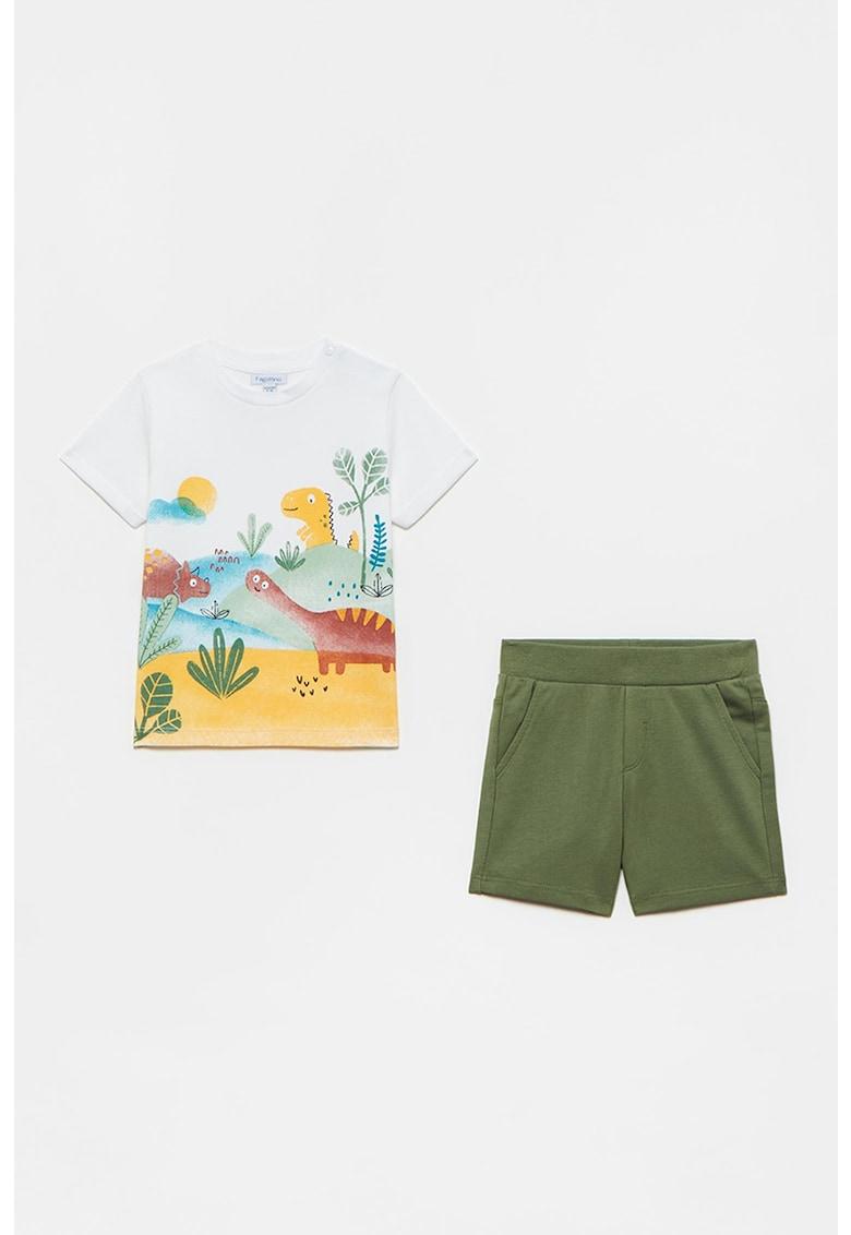 Set de tricou si pantaloni scurti cu imprimeu cu dinozauri - 2 piese