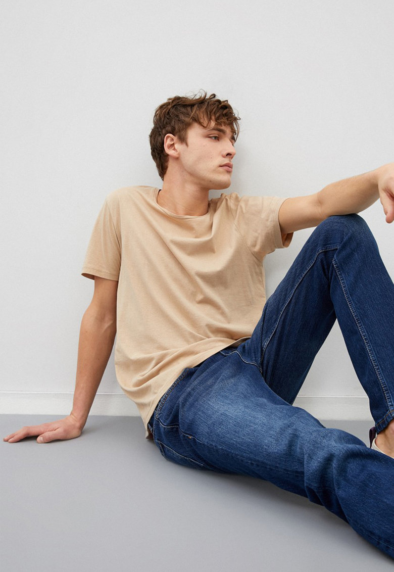 Blugi drepti cu talie medie Mark imagine fashiondays.ro 2021