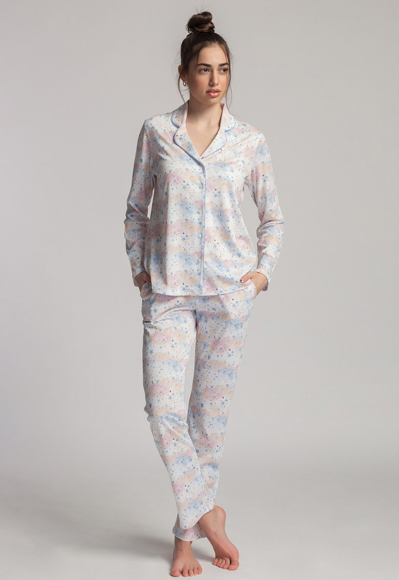 Pijama din amestec de modal Moonsky imagine fashiondays.ro 2021
