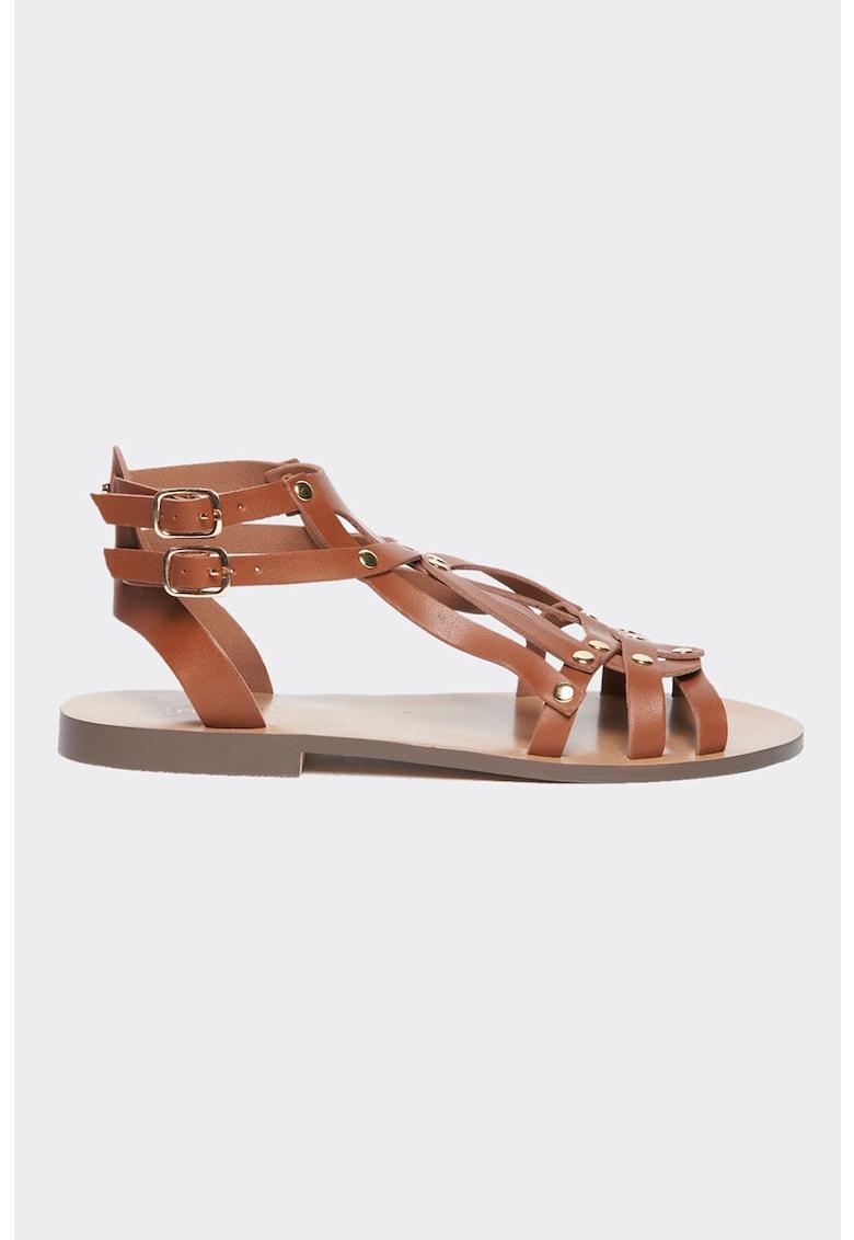 Sandale tip gladiator din piele ecologica cu tinte