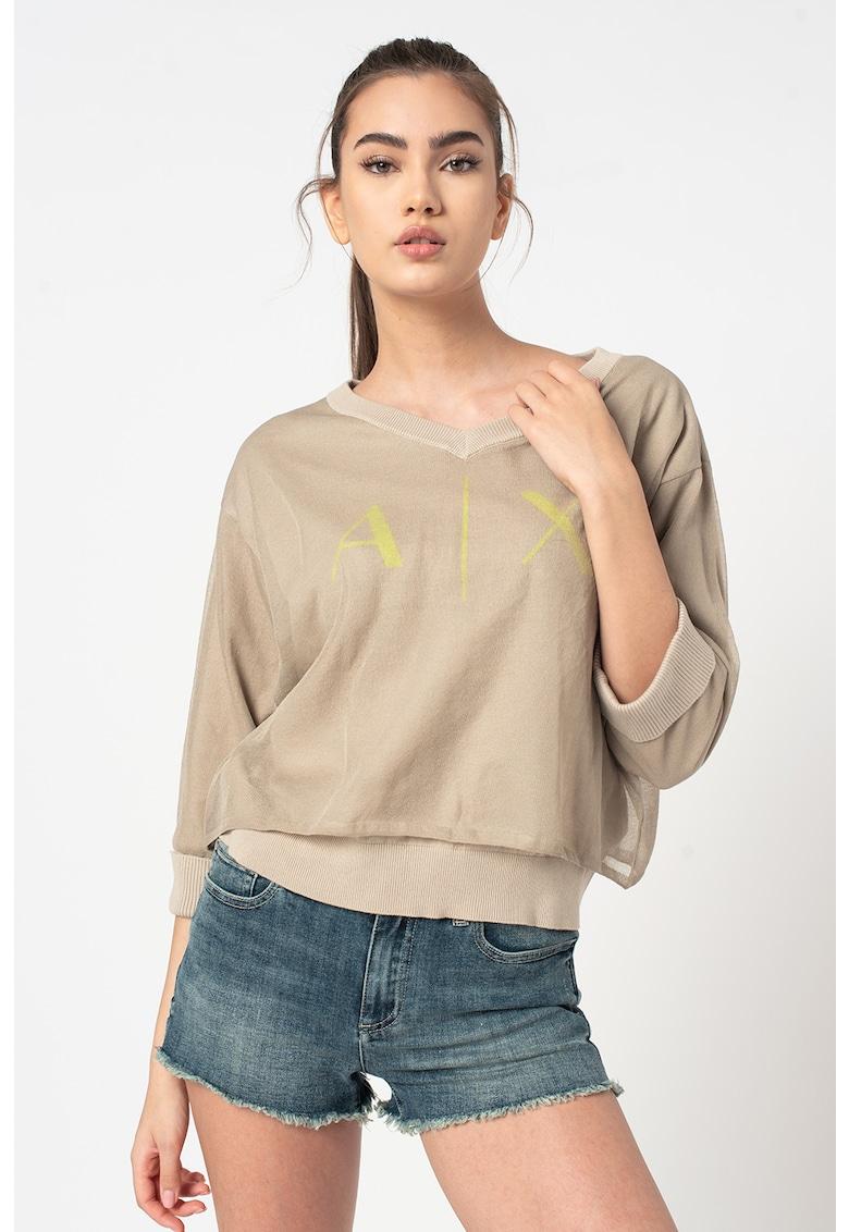 Bluza tricotata fin cu logo