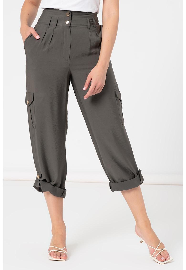 Pantaloni cargo cu talie inalta si benzi ajustabile