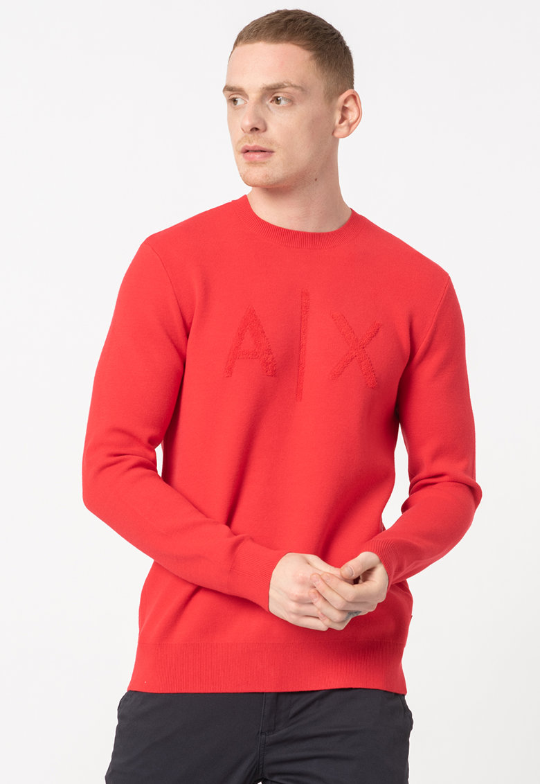 ARMANI EXCHANGE Bluza sport cu decolteu la baza gatului si aplicatie logo din material terry