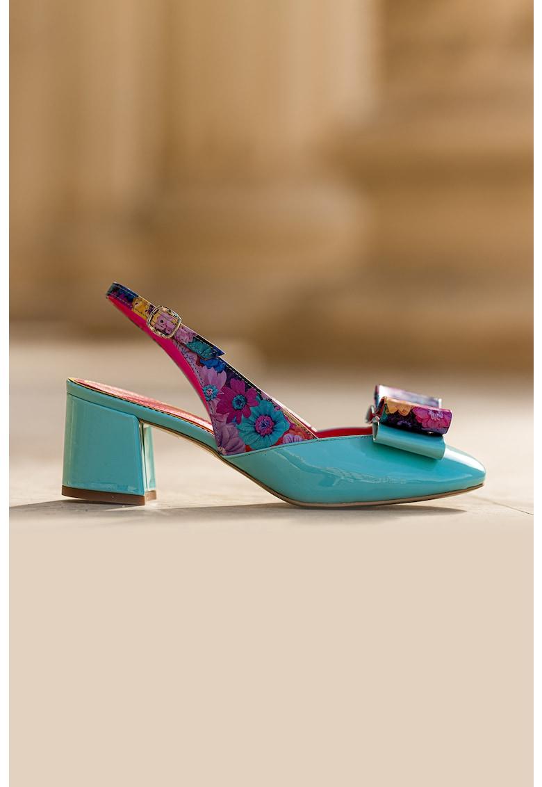 Pantofi slingback de piele si piele lacuita Joy