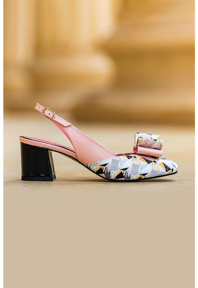 Pantofi slingback de piele si piele lacuita cu funda Joy