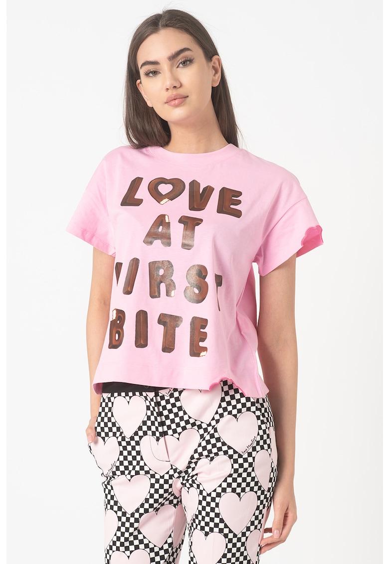 Tricou de bumbac cu imprimeu text
