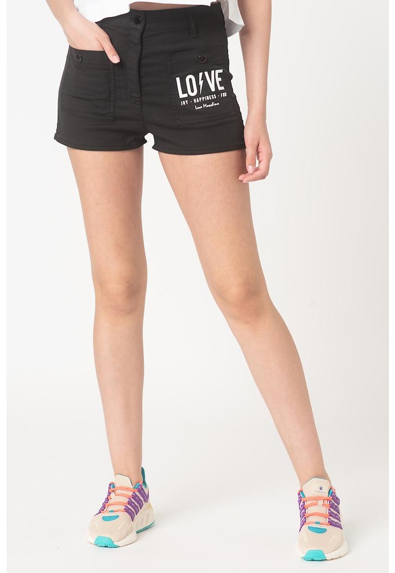 Pantaloni scurti cu talie inalta - din amestec de lyocell