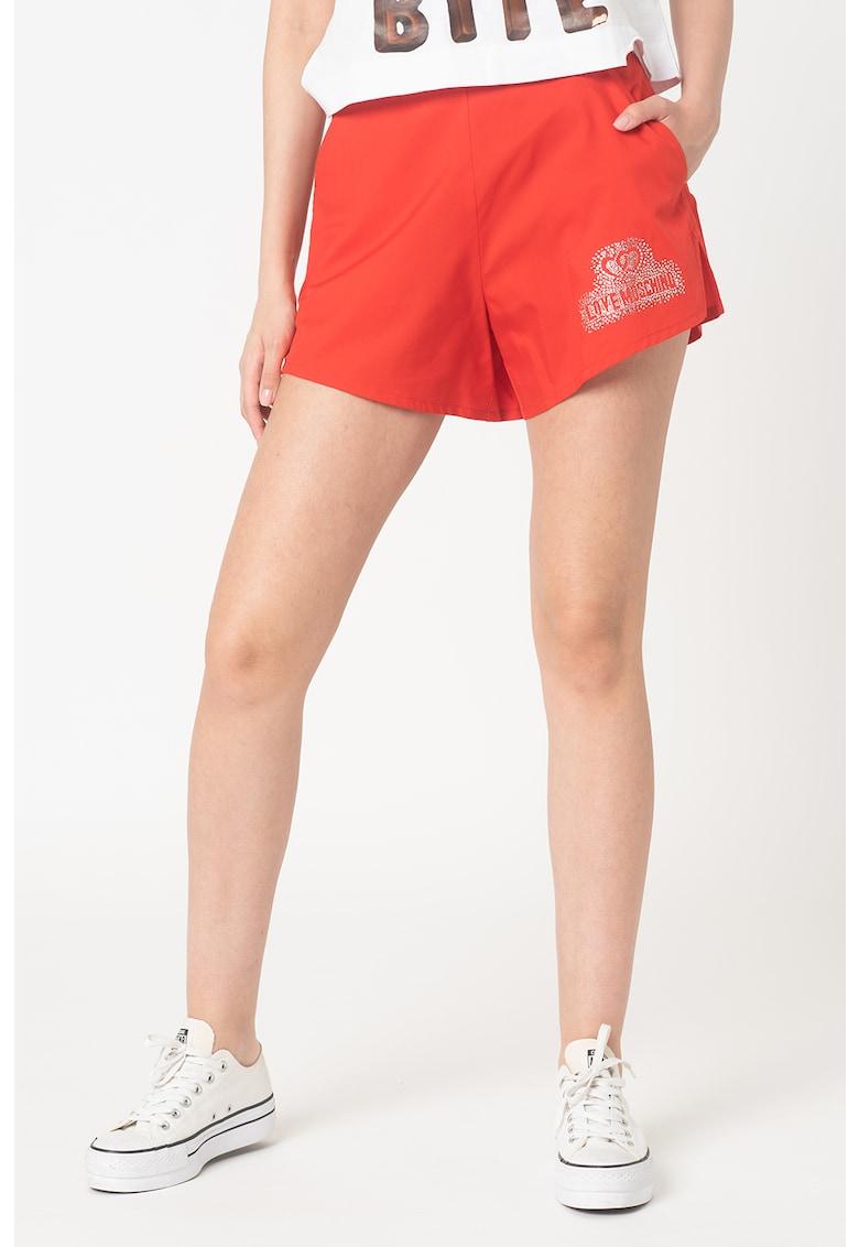 Pantaloni scurti cu talie inalta - cu aplicatie logo