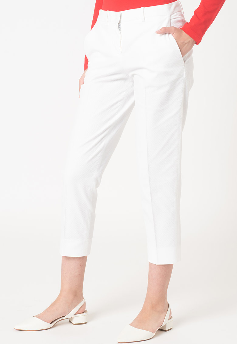 Pantaloni crop din amestec de bumbac