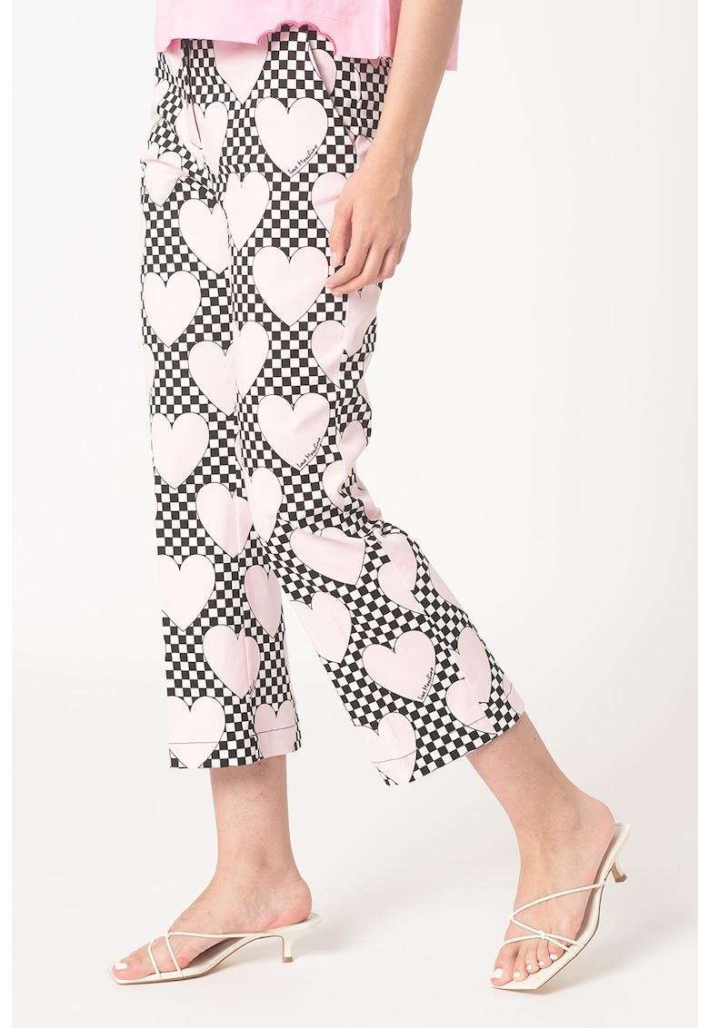 Pantaloni crop cu inimi si carouri