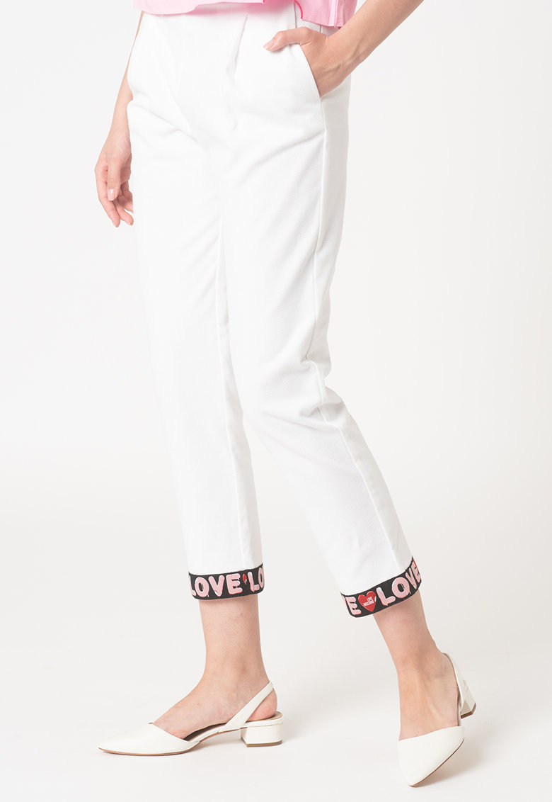 Pantaloni crop drepti cu terminatii cu logo