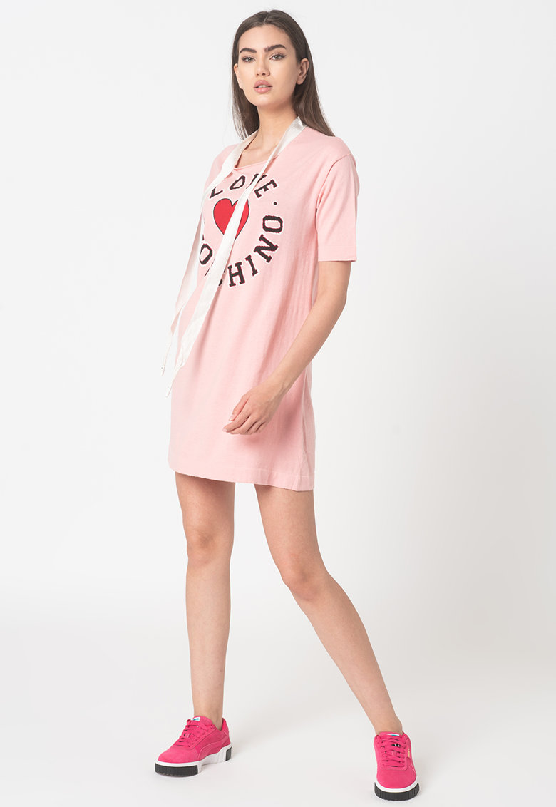 Rochie-tricou mini cu imprimeu logo