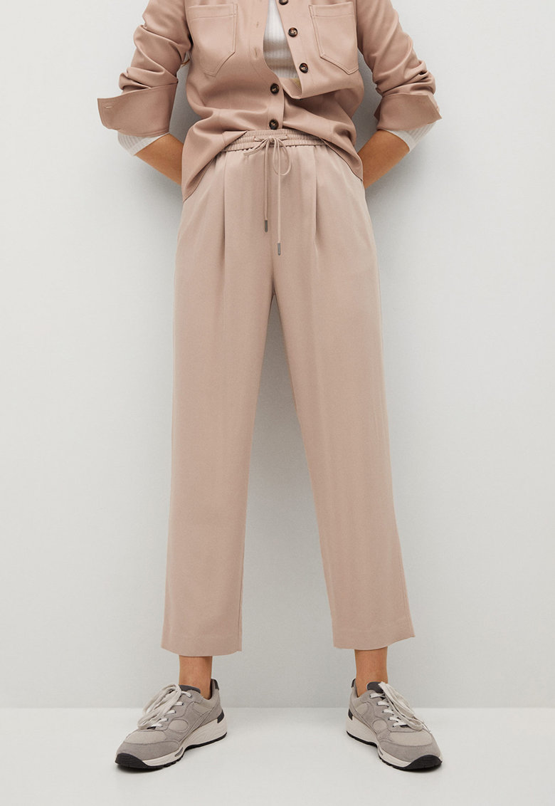 Pantaloni crop din amestec de lyocell cu talie ajustabila Fluido