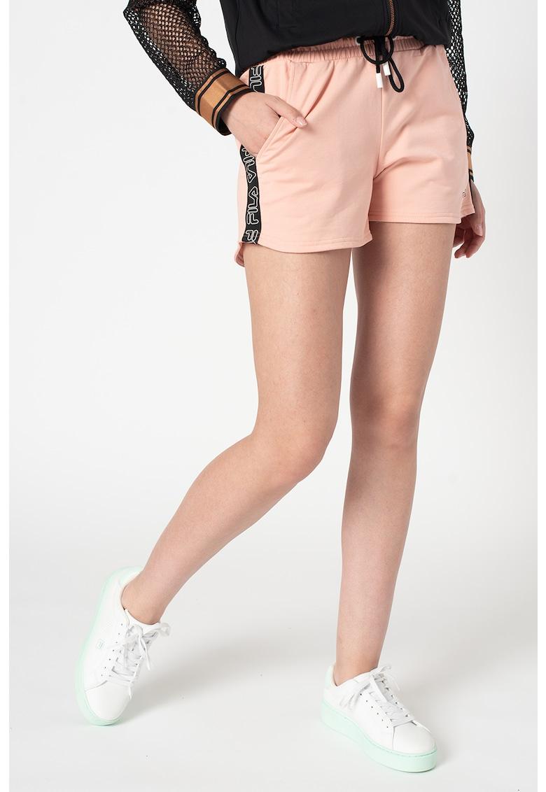 Pantaloni scurti cu imprimeu logo si benzi laterale Jadiana