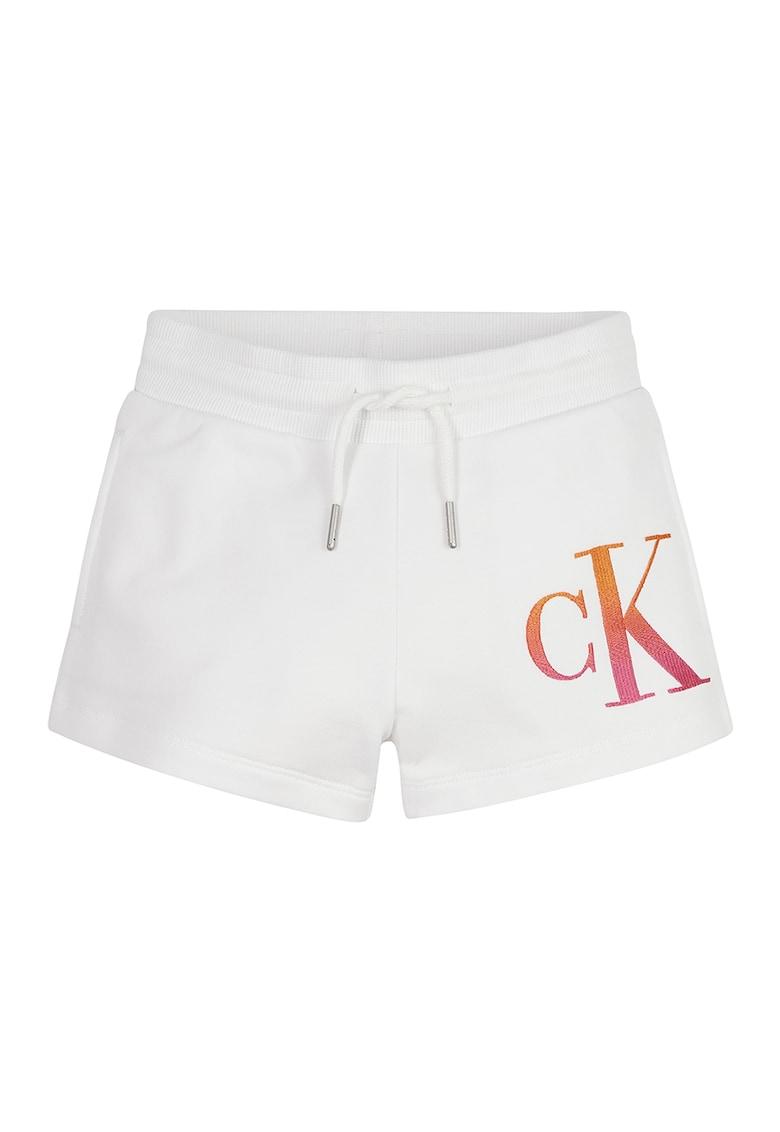 Pantaloni scurti de bumbac organic cu logo brodat imagine fashiondays.ro 2021