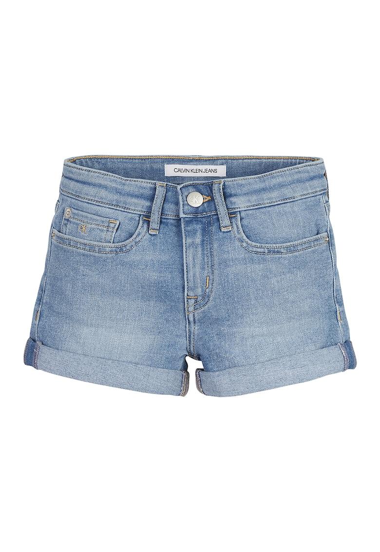 Pantaloni scurti slim fit de denim imagine fashiondays.ro 2021