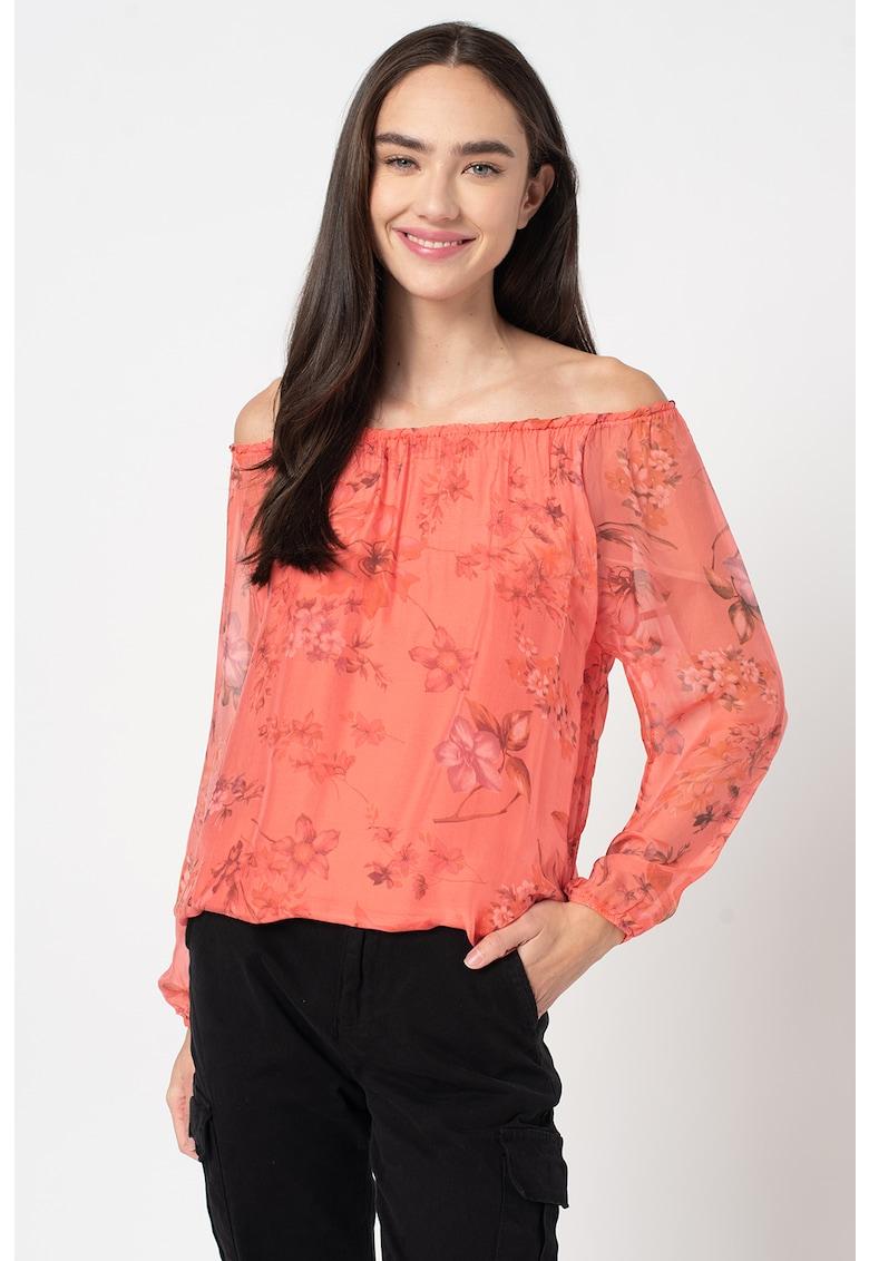 Bluza cu decolteu pe umeri si imprimeu floral