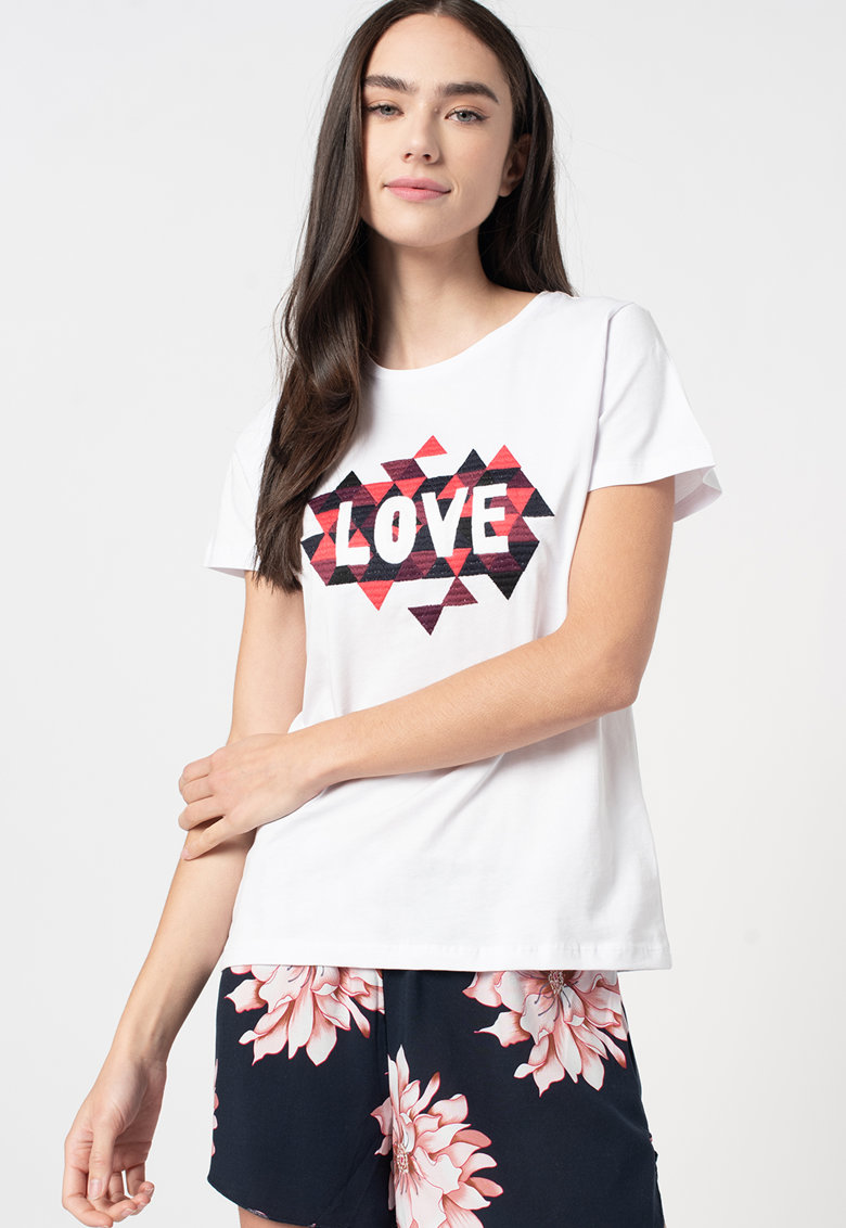 Tricou cu model geometric cusut Mia de la Zabaione