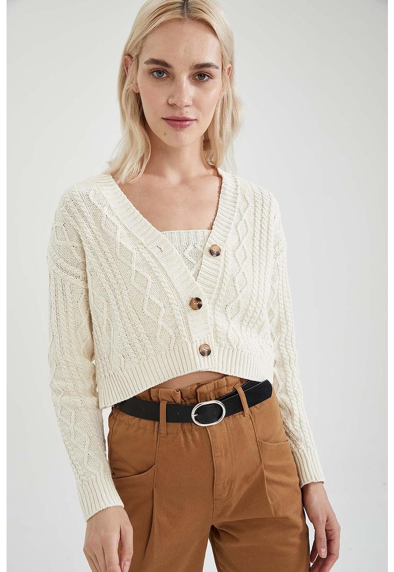 Cardigan crop cu model torsade imagine fashiondays.ro DeFacto