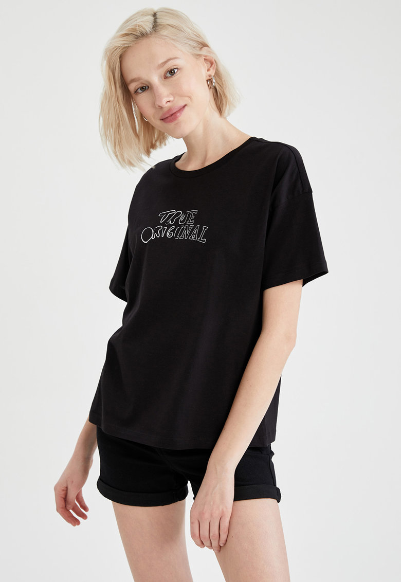 Tricou relaxed fit cu Mickey Mouse