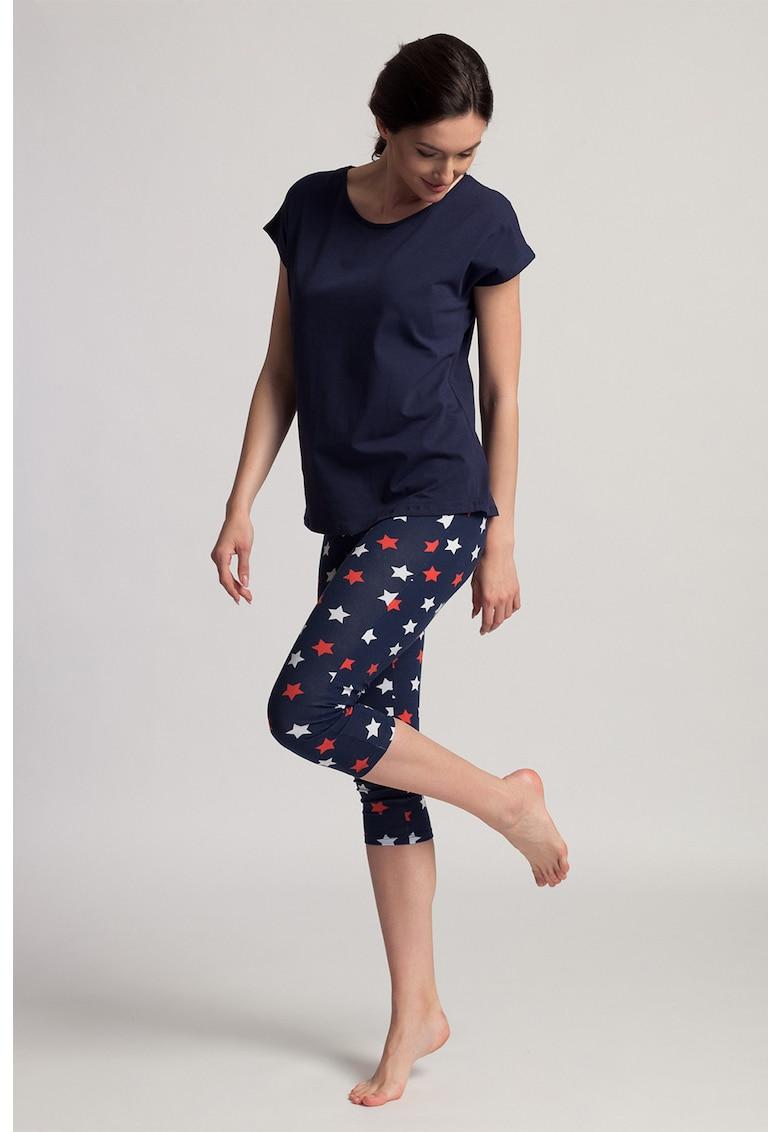 Pijama din amestec de bumbac organic cu imprimeu grafic Grace imagine fashiondays.ro 2021