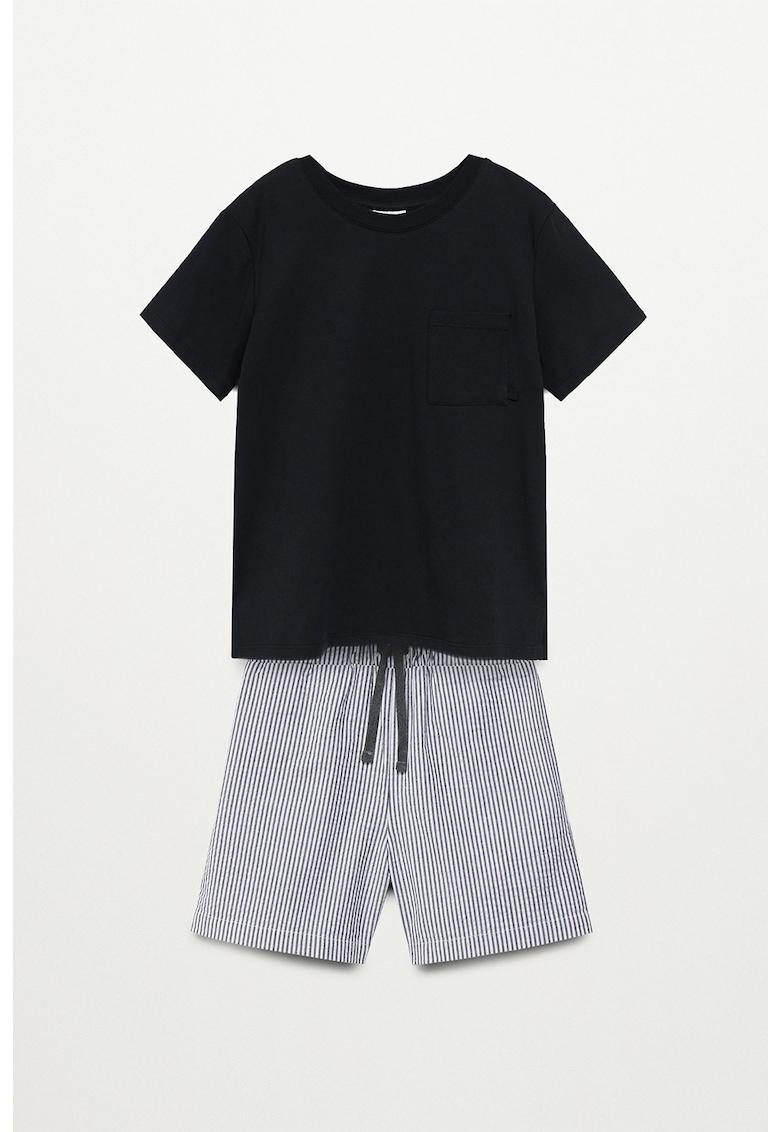 Mango Pijama de bumbac cu pantaloni scurti in dungi Orson
