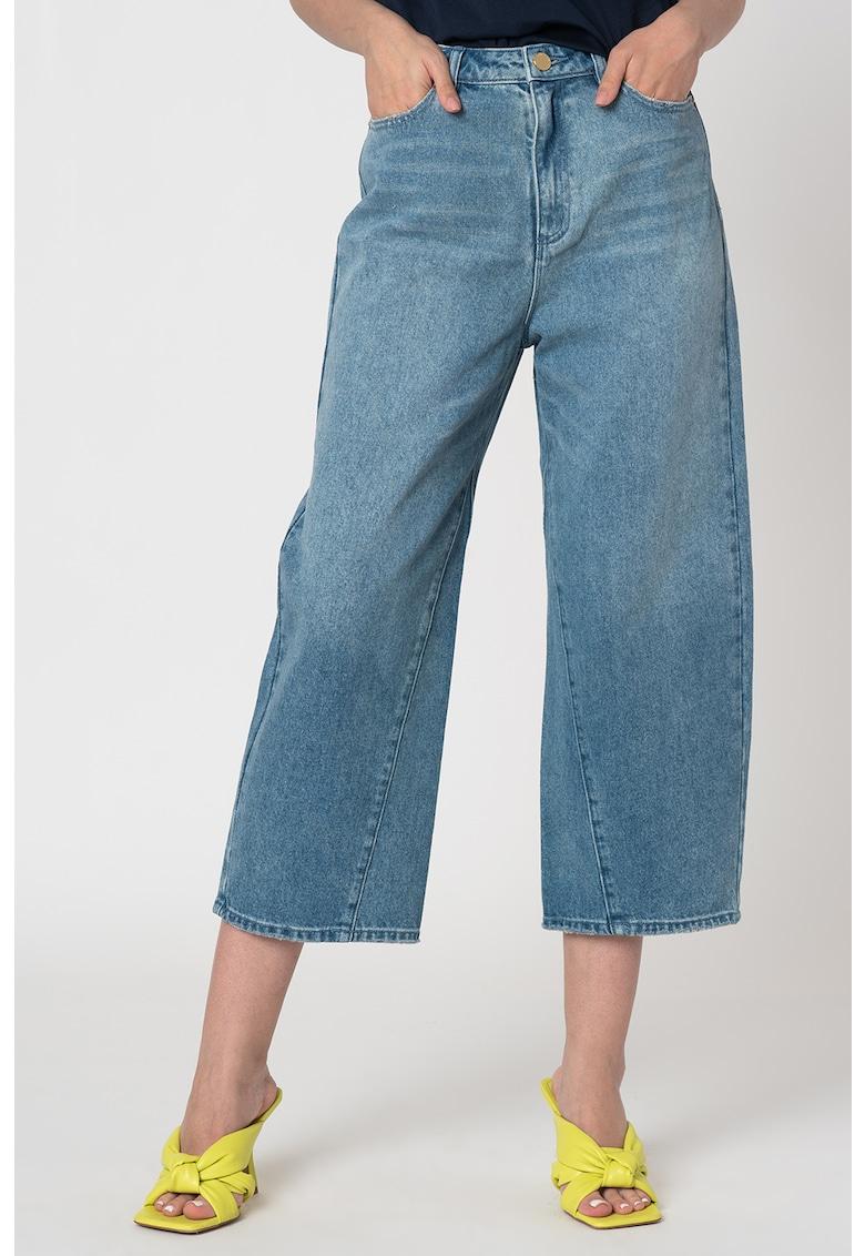 Blugi culotte cu detalii cu aspect decolorat