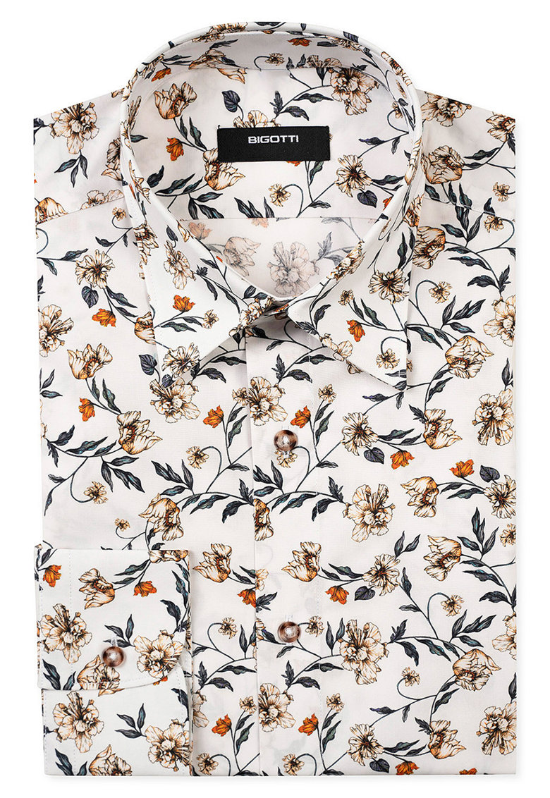 Camasa slim fit cu model floral imagine fashiondays.ro 2021