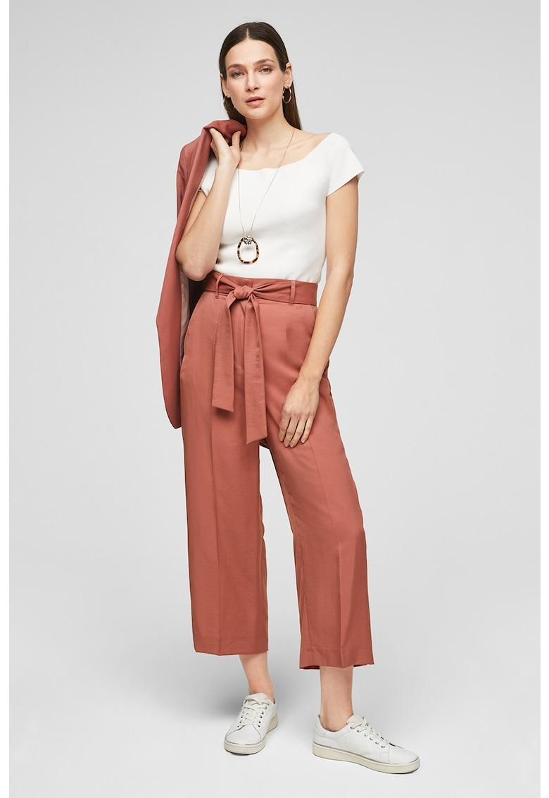 Pantaloni drepti din amestec de lyocell cu cordon in talie