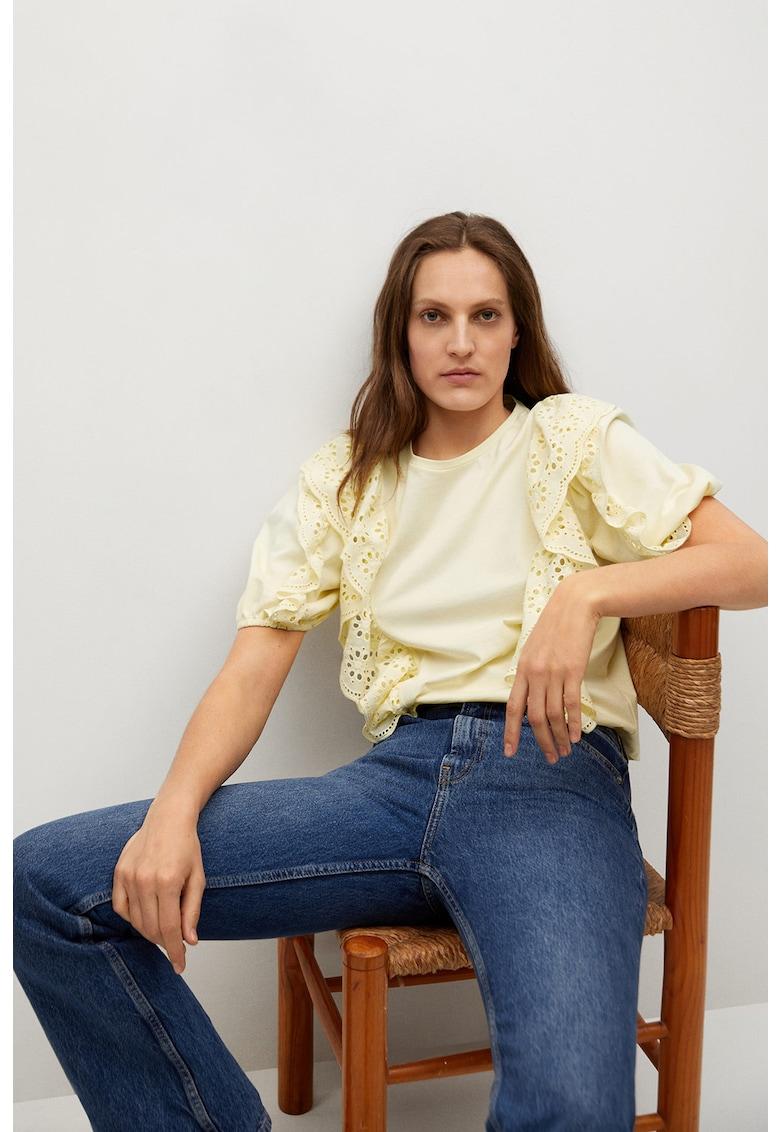 Bluza cu broderie din dantela San Gallo Swiss imagine fashiondays.ro Mango