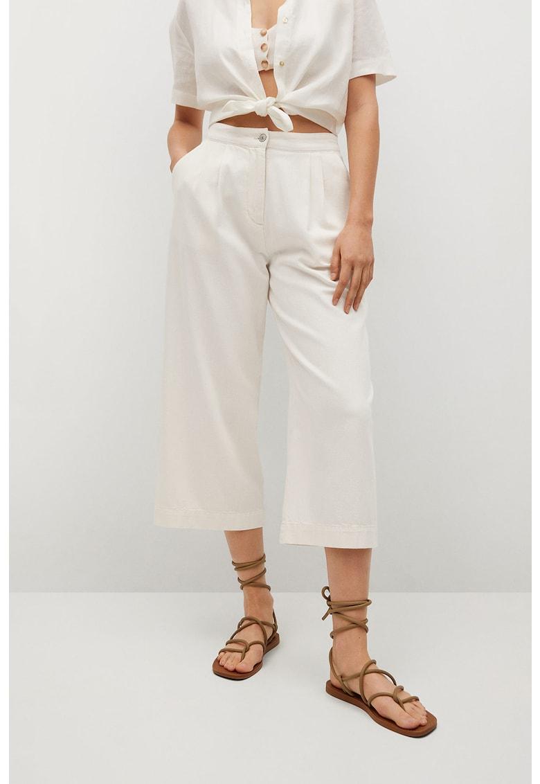 Pantaloni culotte din bumbac cu talie inalta Rustic de la Mango