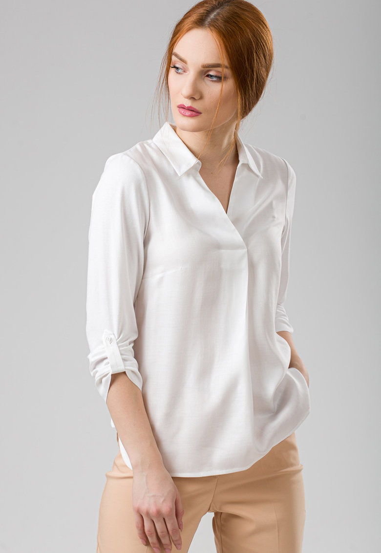 Bluza cu guler clasic si maneci ajustabile imagine fashiondays.ro 2021