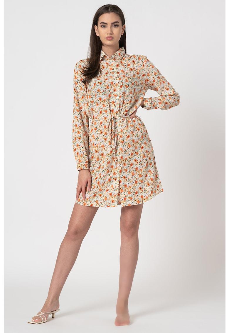 Rochie tip camasa cu imprimeu floral Erika