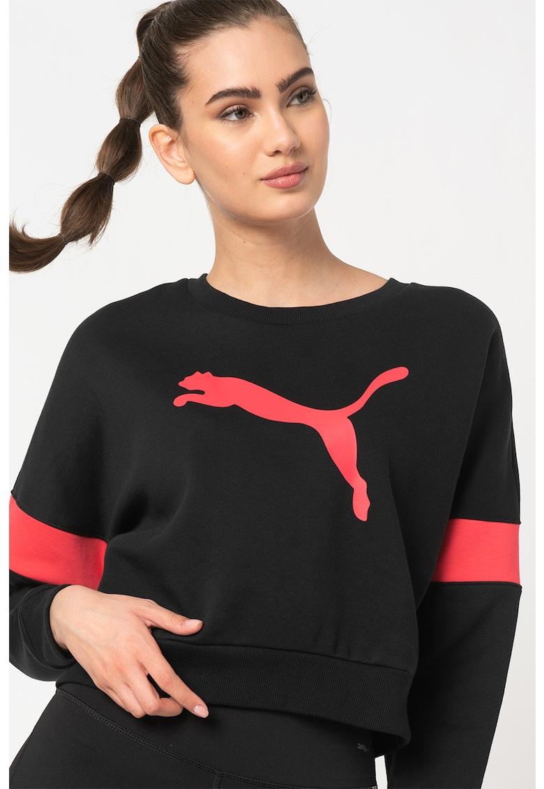 Bluza sport crop cu imprimeu logo