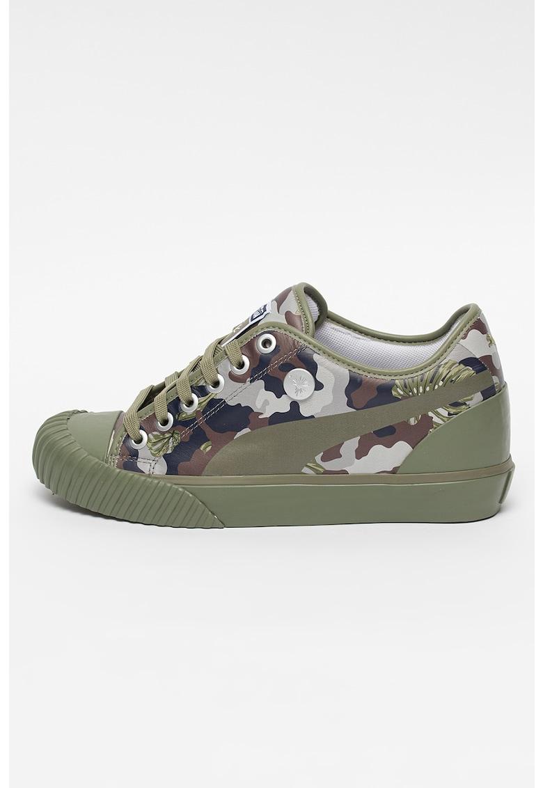 Pantofi sport unisex de piele cu imprimeu camuflaj MY-86