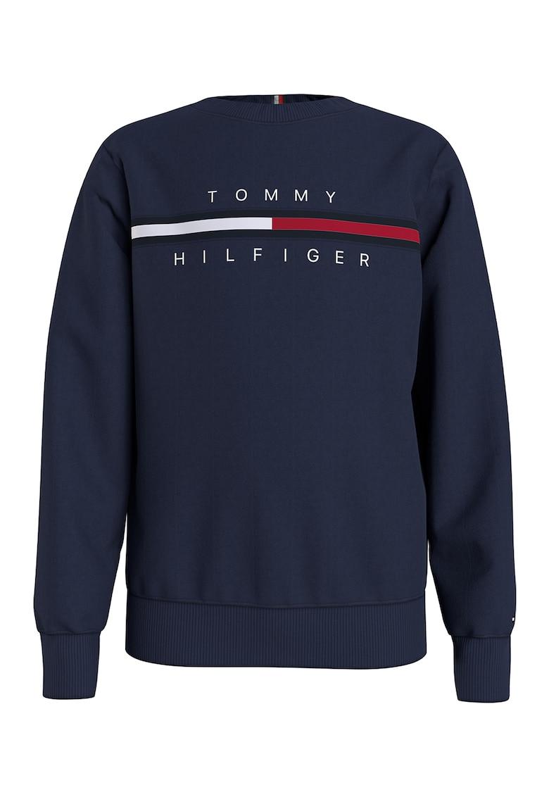Bluza sport din amestec de bumbac organic cu imprimeu logo imagine fashiondays.ro Tommy Hilfiger