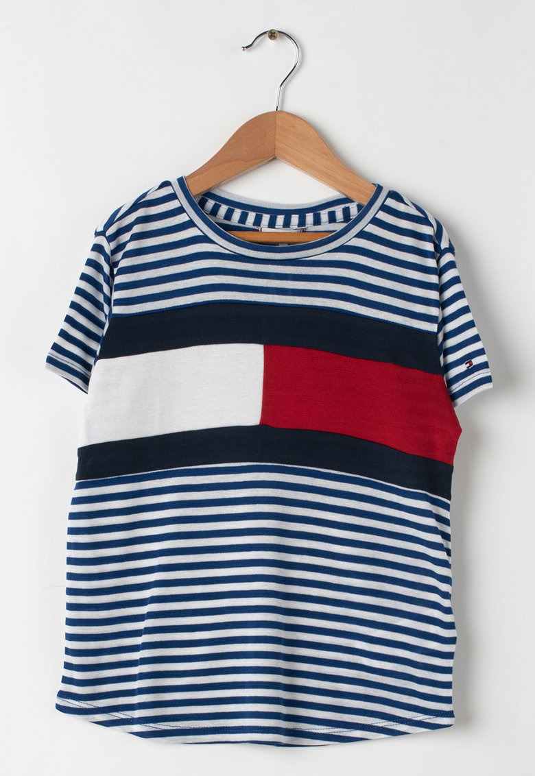 Tricou din lyocell in dungi imagine fashiondays.ro Tommy Hilfiger