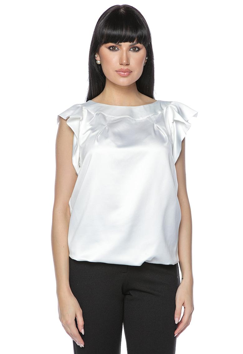 Bluza cu aspect satinat si maneci cu volane imagine fashiondays.ro Miss One