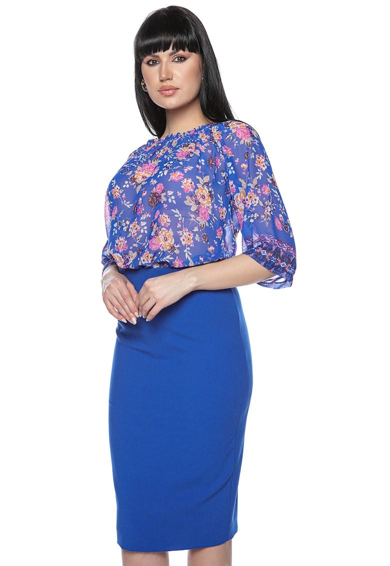 Miss One Bluza cu model floral si aspect semi-transparent