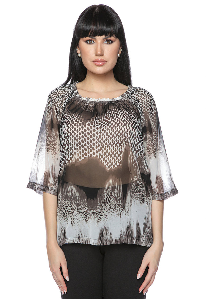 Miss One Bluza cu model si aspect semi-transparent