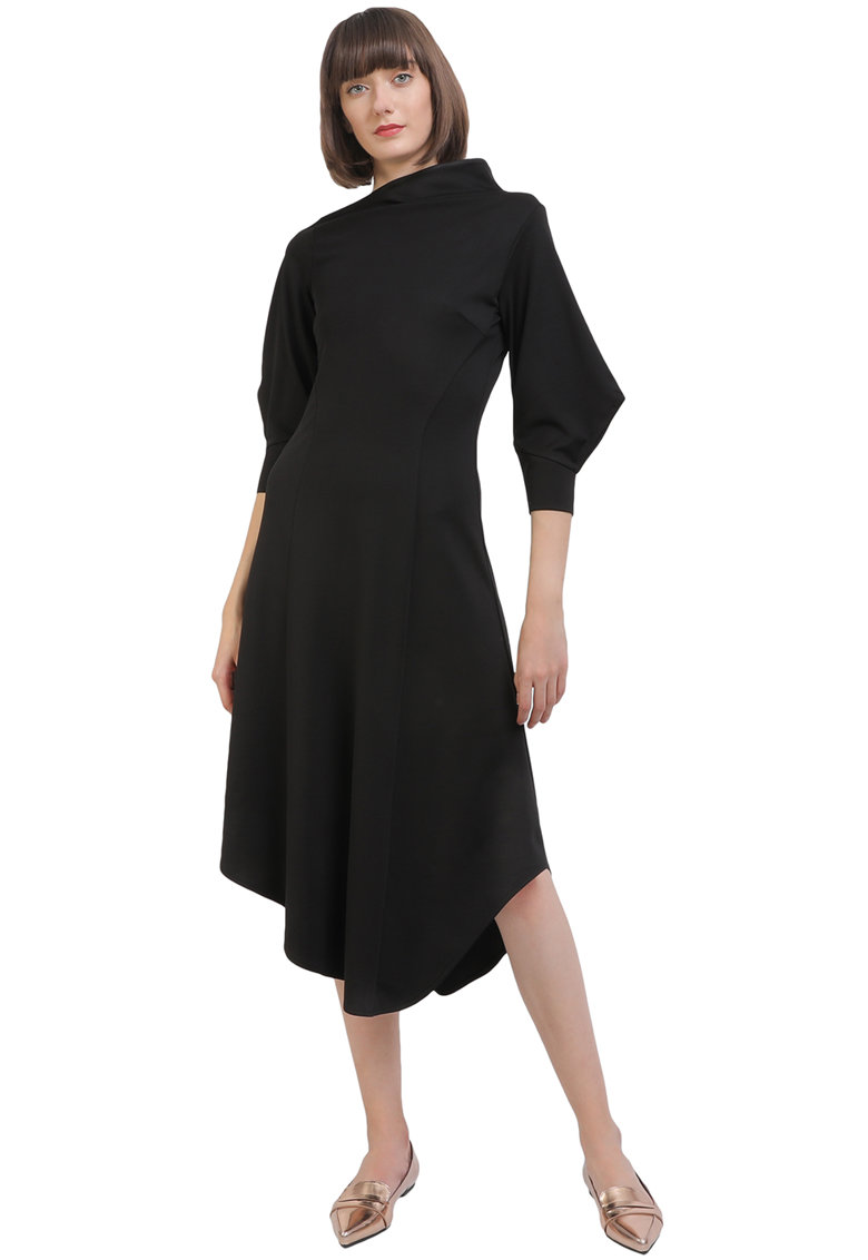 Rochie asimetrica cu maneci bufante imagine fashiondays.ro Larisa Dragna