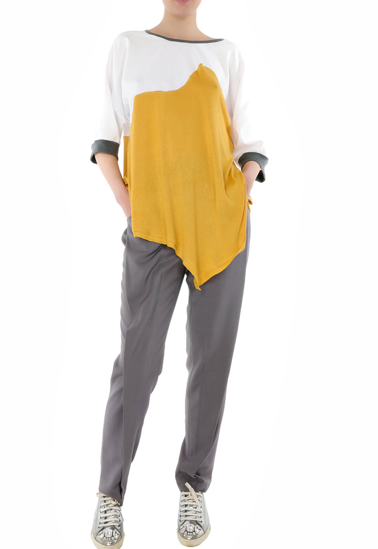 Bluza asimetrica cu model colorblock imagine fashiondays.ro Larisa Dragna