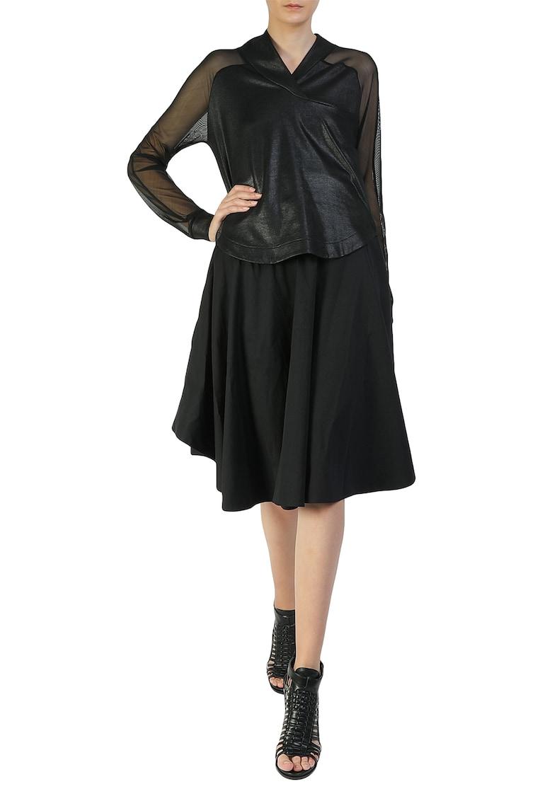 Rochie midi cu garnituri semitransparente imagine fashiondays.ro Larisa Dragna